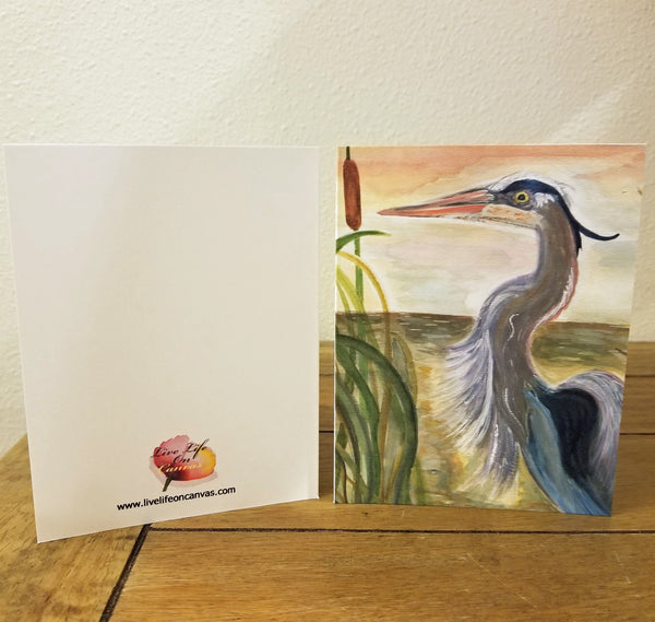 Heron in the Marsh - Greeting Cards