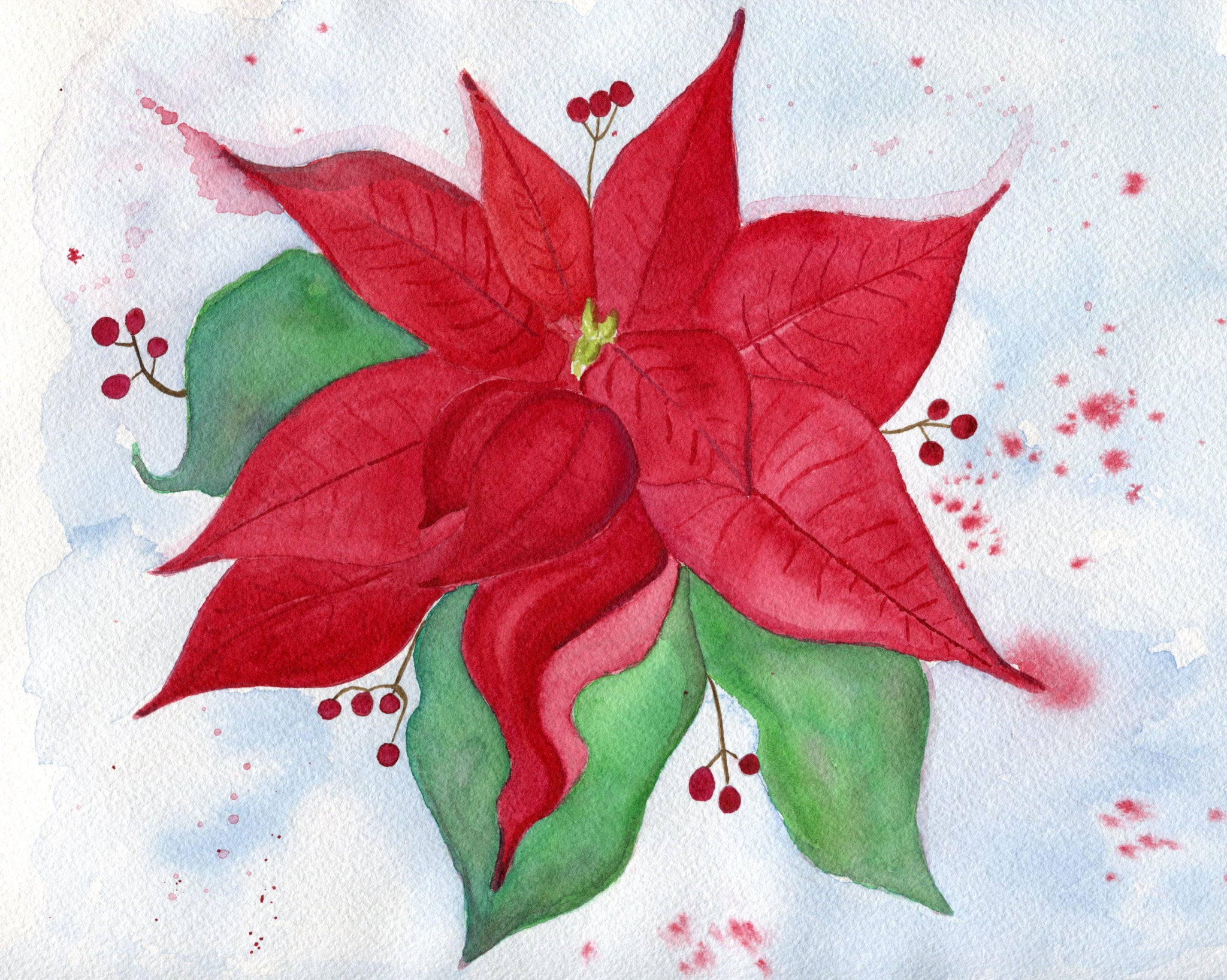 "Holiday Poinsettia - Original Painting (9""x12"")"