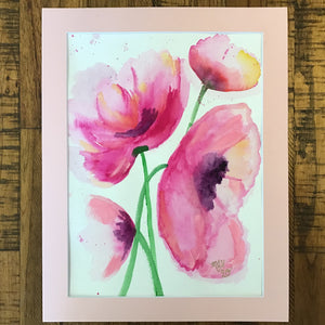"Playful Pink Poppies - Original Painting (11""x14"" matted)"