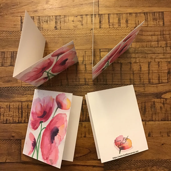 Playful Pink Poppies - Greeting Cards
