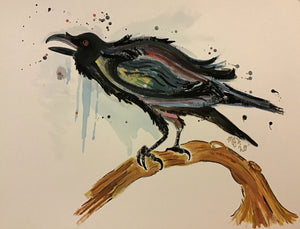 "Raven In October - Original Painting (11""x14"")"