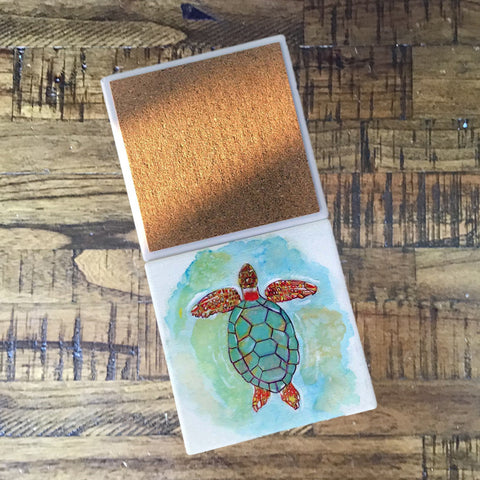 Square Sea Turtle Coasters - Set of 4