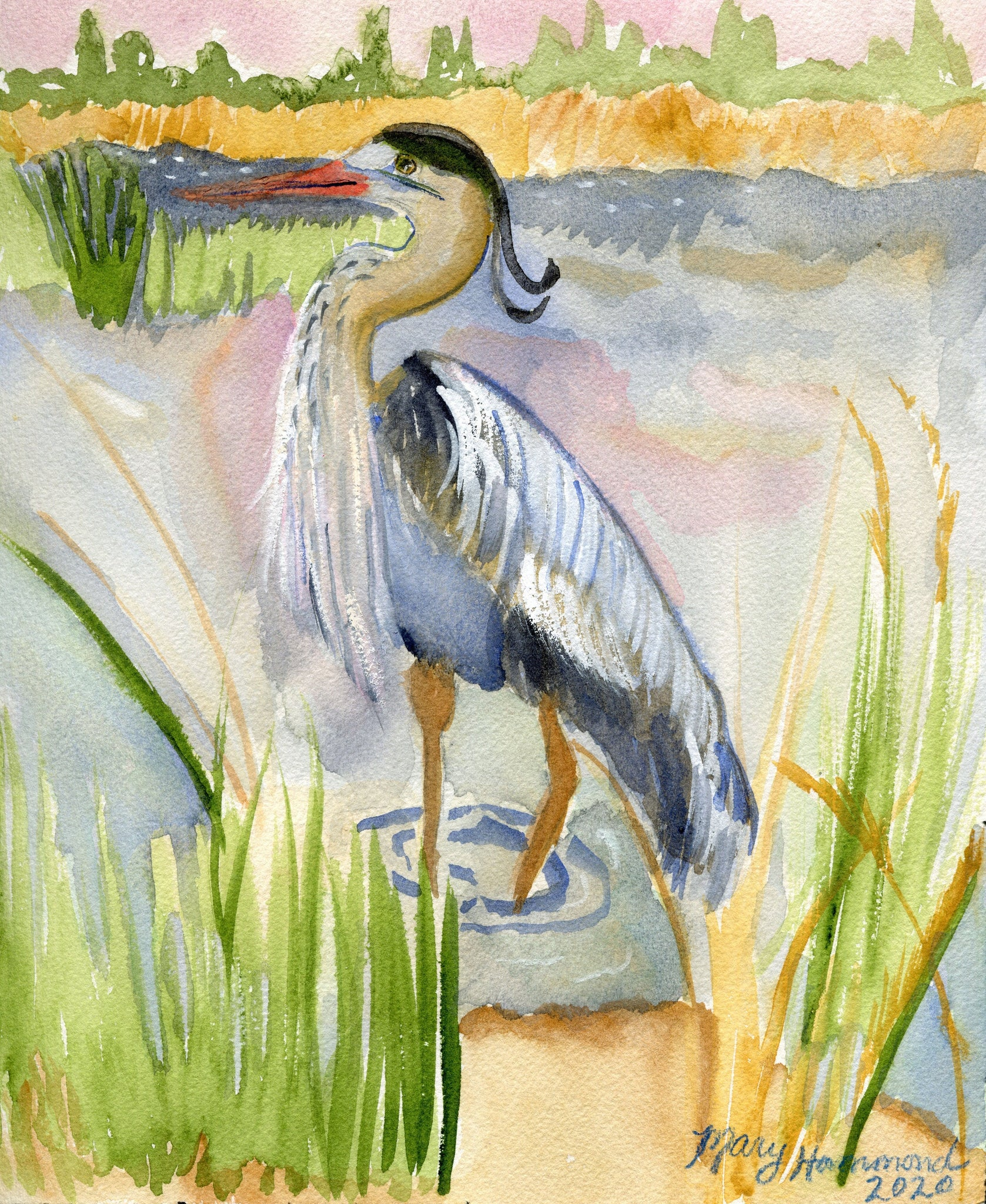 "Blue Heron In The Marsh - Original Painting (9""x12"")"