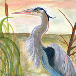 "Heron in the Marsh - Original Painting (12""x12"")"