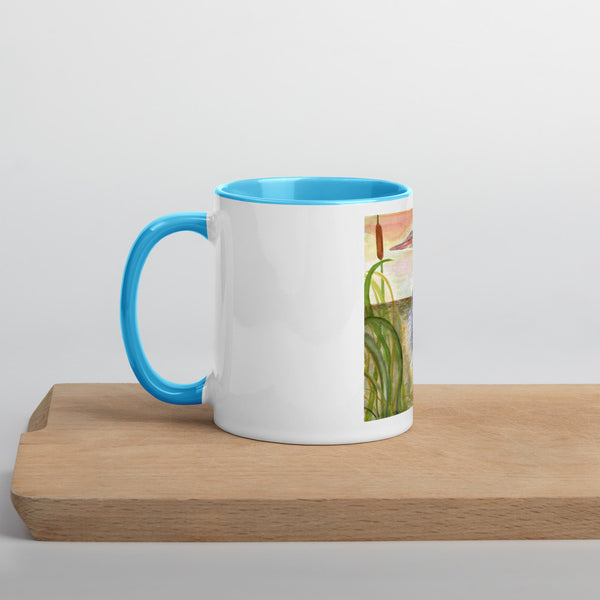 Heron in the Marsh - Mug with Color Inside