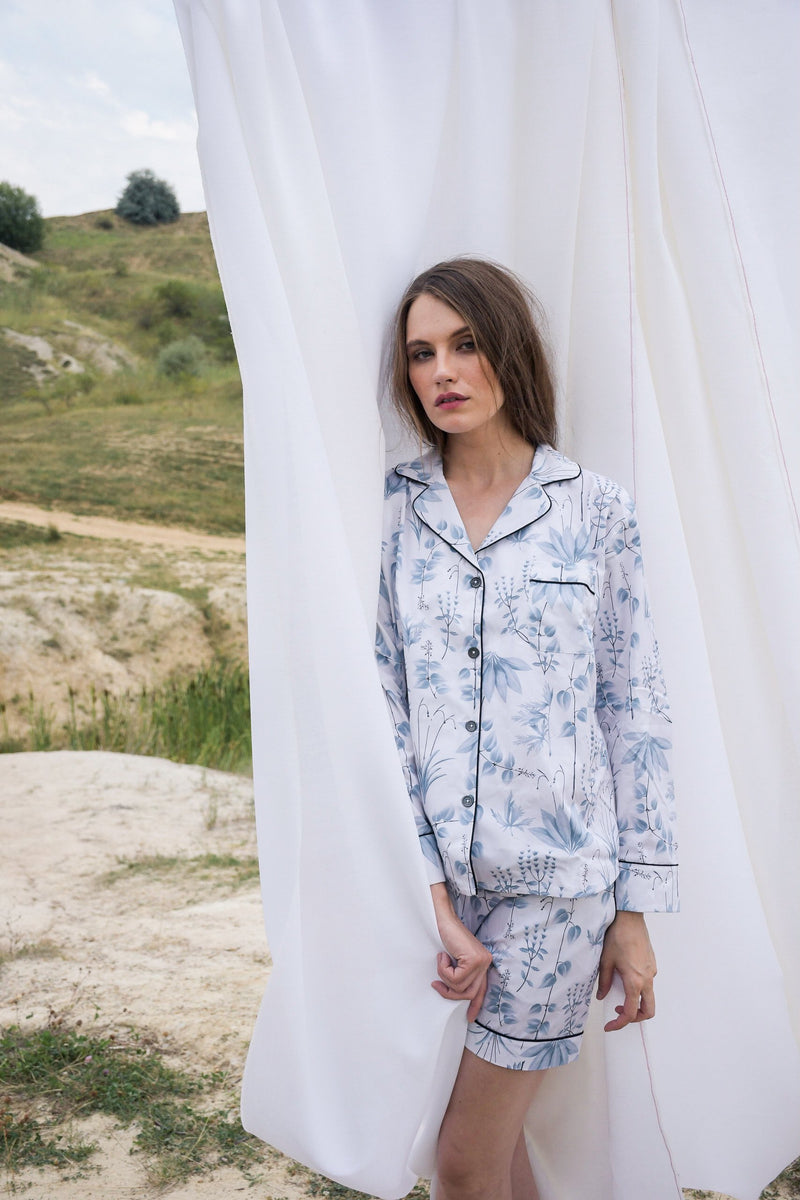 Circe's Garden Grey Pyjama Set with Shorts - Women - Fairclo