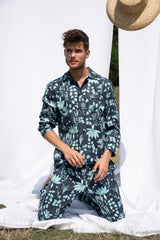Circe's Garden Navy Blue Long Pyjama Set -  Men - Fairclo