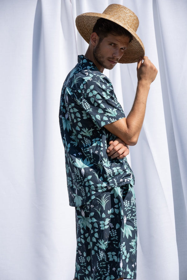 Circe's Garden Navy Blue Short Pyjama Set - Men - Fairclo