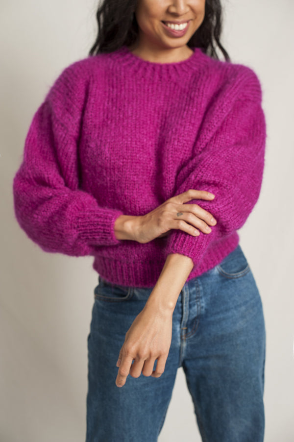 Moherowy sweter Gala Bright Pink