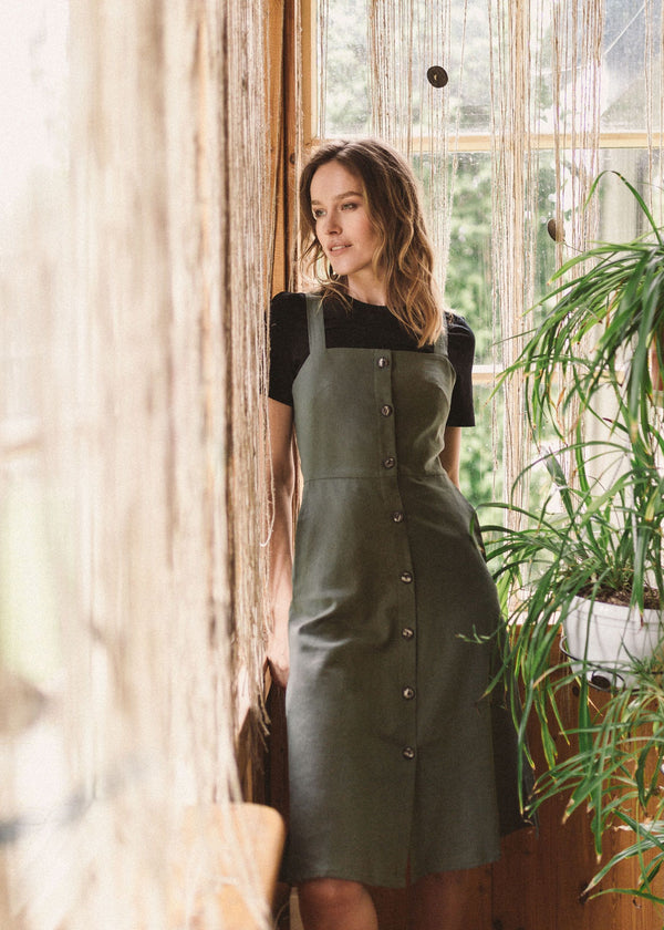 Luca Linen Dress Olive Green - Fairclo