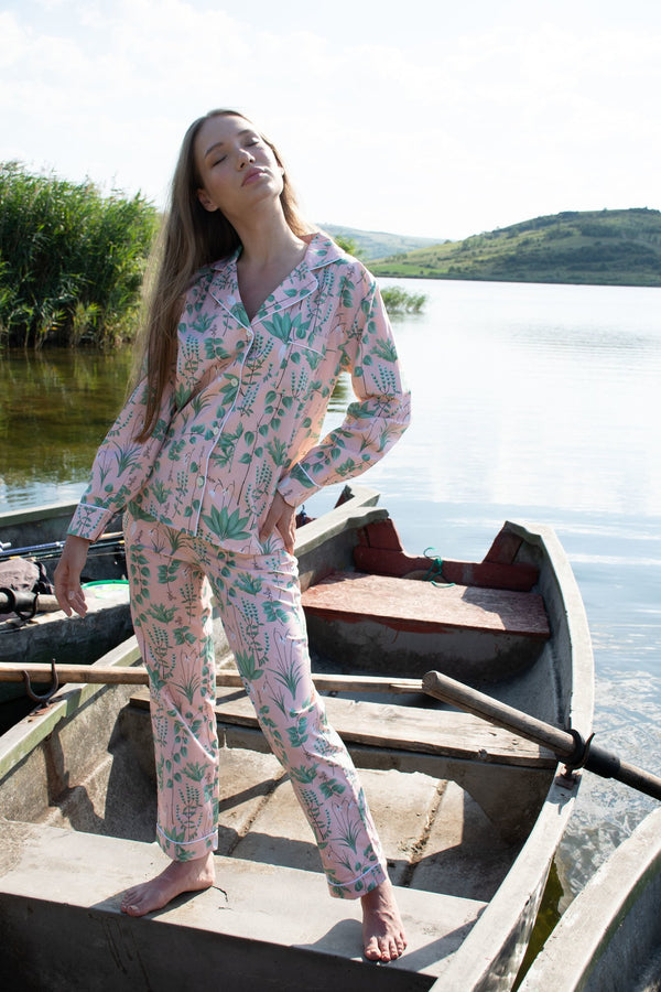 Circe's Garden Pink Long Pyjama Set -  Women - Fairclo