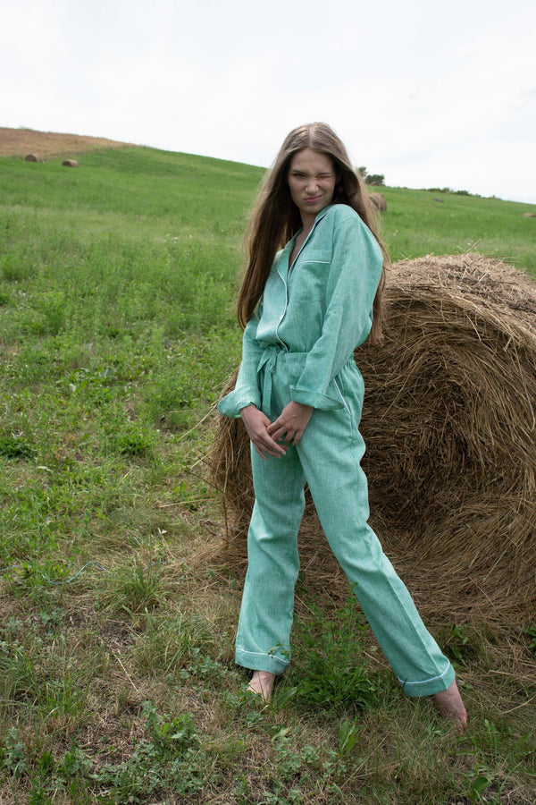 Joyful Green Long Pyjama Set - Women - Fairclo