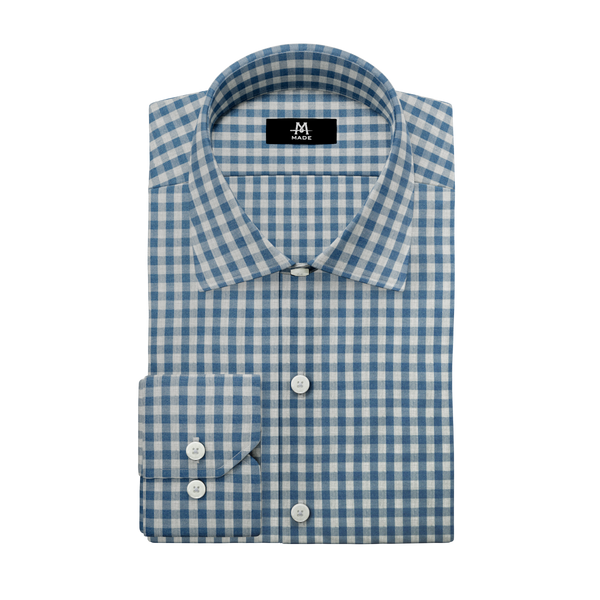 FADED TEAL & LIGHT GREY LUXURY GINGHAM