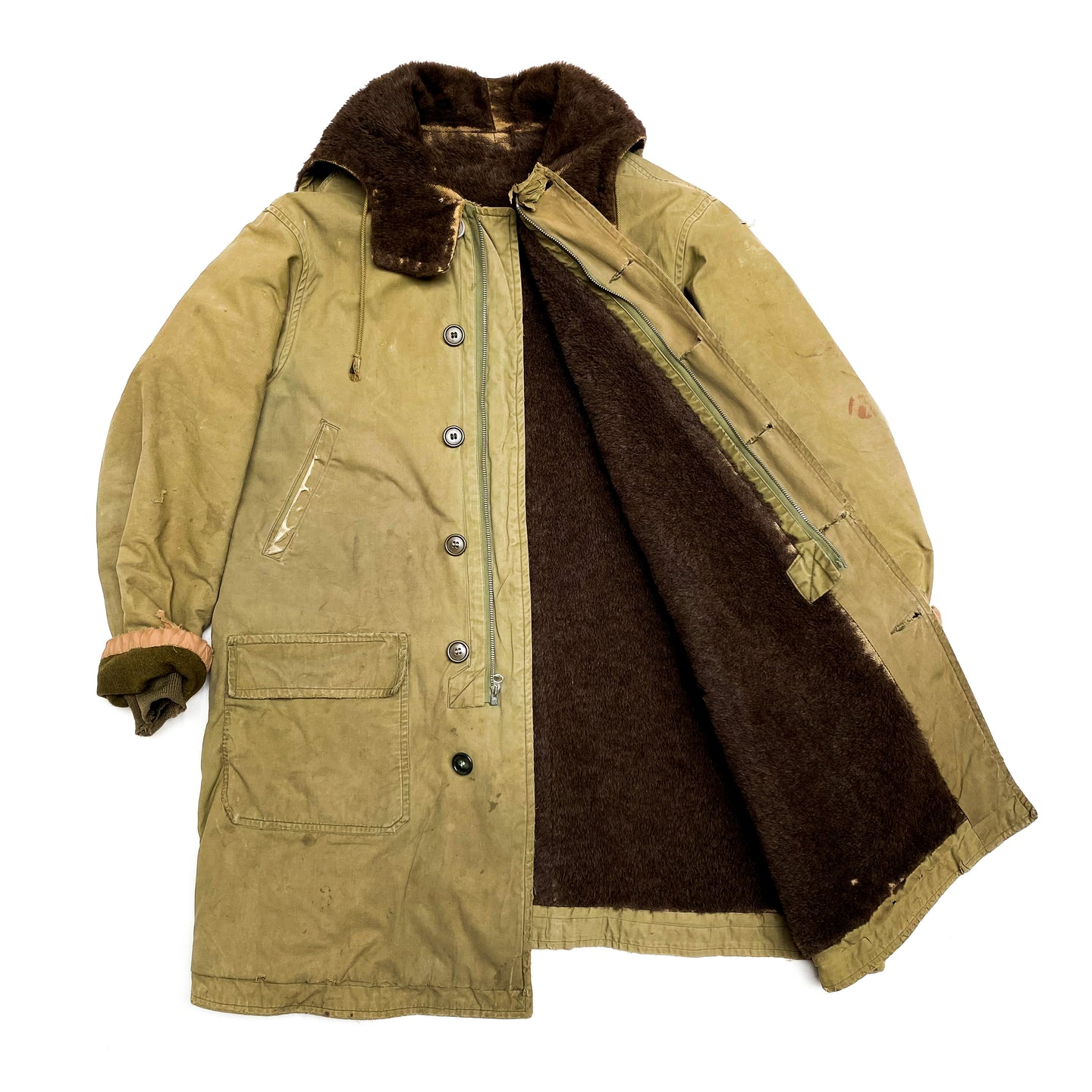 1940s WWII Military Green Alpaca Hooded Parka