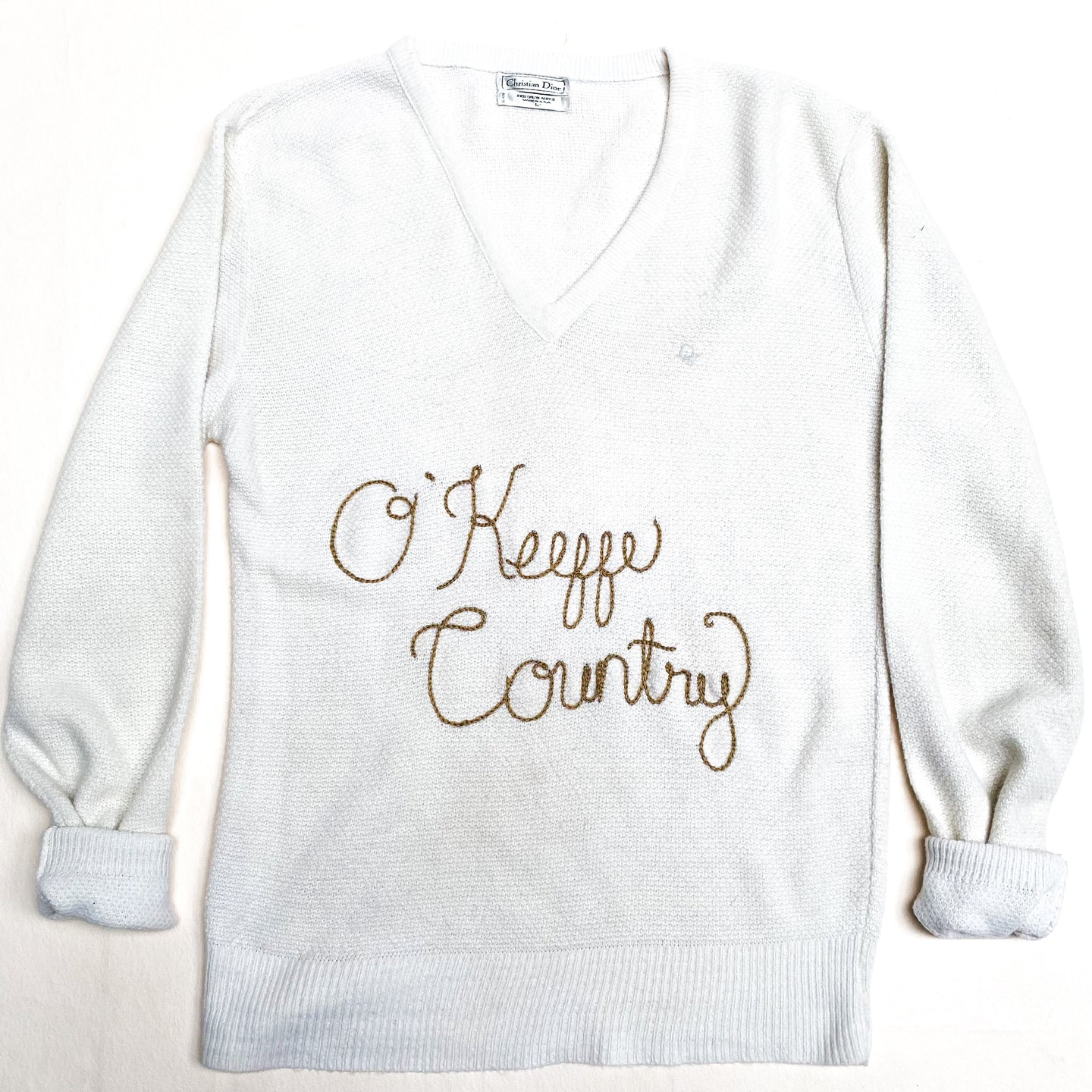 Hand Embroidered O'Keeffe Country on Vintage Christian Dior