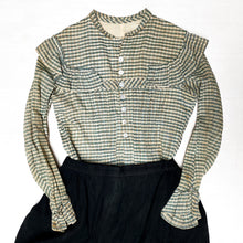 Load image into Gallery viewer, Edwardian Green Gingham Ruffle Bodice Blouse