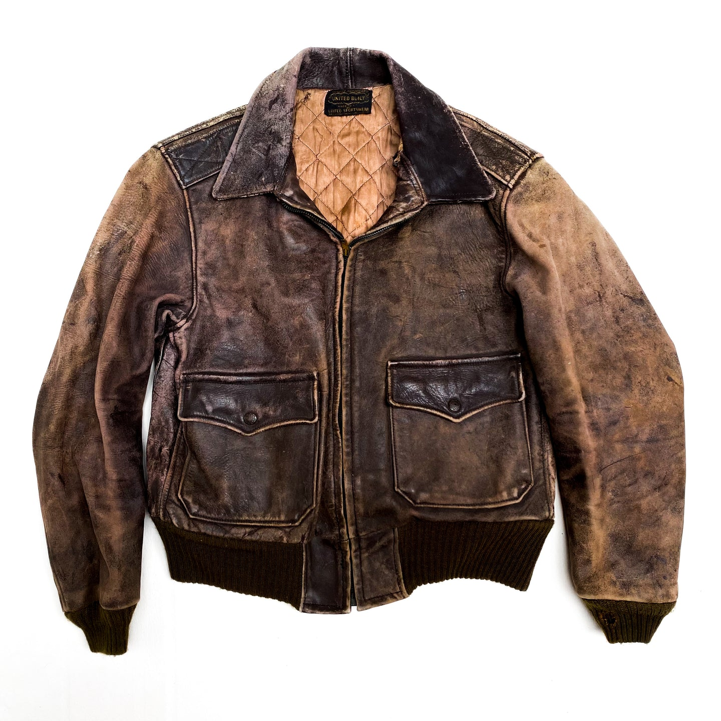 1960s United Built Brown Leather Bomber