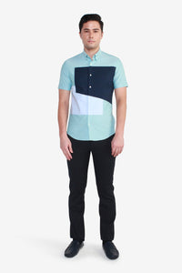 Smart Fit Short Sleeve Casual Placement Block Shirt