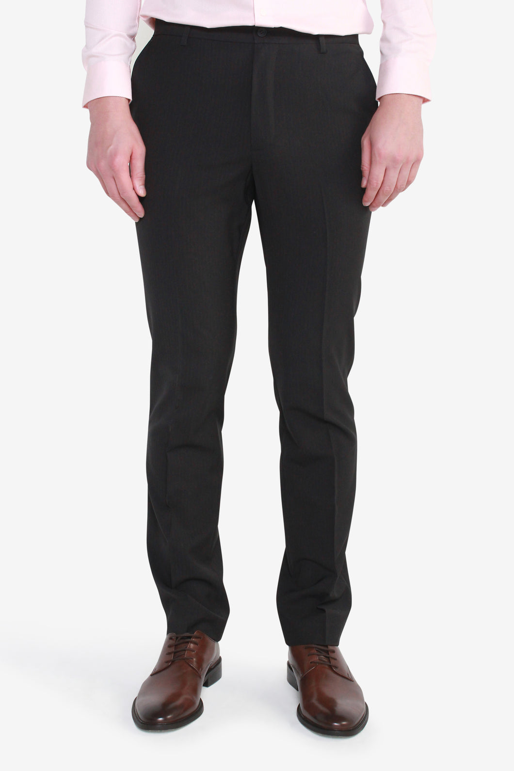 Reg Fit Black Polyester Textured Pants