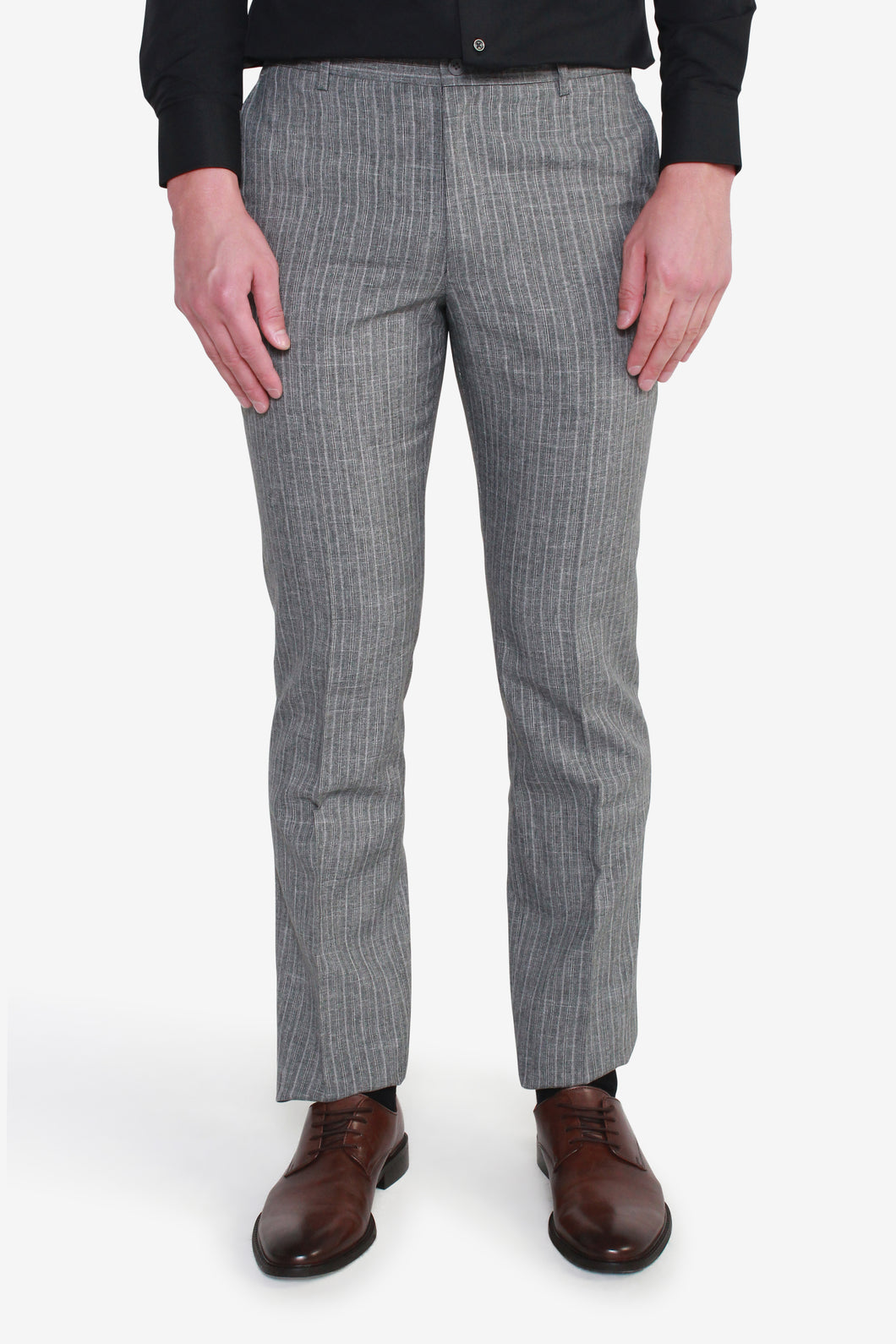 Reg Fit Grey Polyester Textured Pants