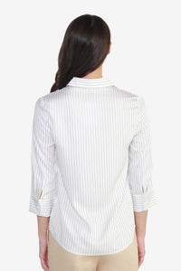 Striped Rayon Blouse with Cropped Sleeves