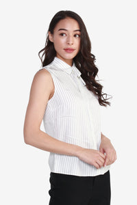 Striped Rayon Blouse with Detachable Tie