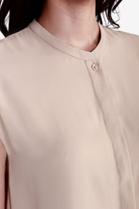 Round Neck Blouse with Cap Sleeves