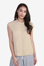 Load image into Gallery viewer, Round Neck Blouse with Cap Sleeves