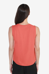 V-Neck Sleeveless Blouse with Frills Detailing