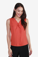 Load image into Gallery viewer, V-Neck Sleeveless Blouse with Frills Detailing