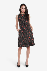 Sleeveless Printed Dress with Front Cinched Waist Detail