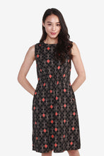 Load image into Gallery viewer, Sleeveless Printed Dress with Front Cinched Waist Detail