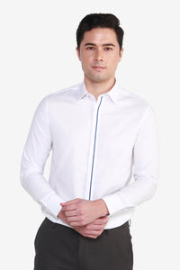 Smart Fit CVC Textured Shirt with Blue Placket Detail