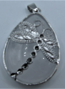 Teardrop Gemstone Pendant with Dragonfly