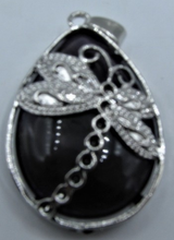 Load image into Gallery viewer, Teardrop Gemstone Pendant with Dragonfly