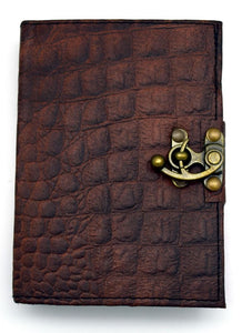 Brown Python Leather Embossed Journal