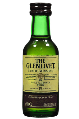 glenlivet 15 year old, french oak reserve miniature, single malt scotch whisky