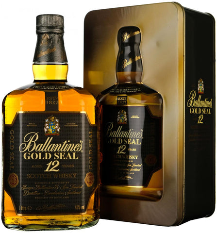 ballantine's 12 year old, gold seal blended scotch whisky whiskey