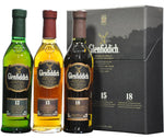 glenfiddich gift pack 3 x 20cl 12 year old, 15 year old, 18 year old, speyside single malt scotch whisky