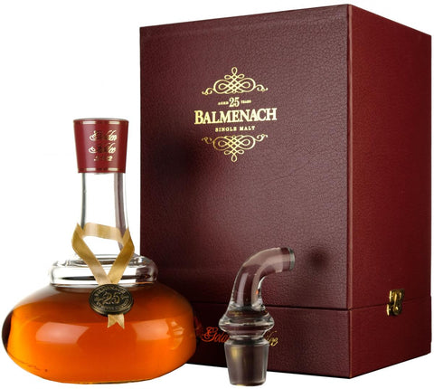 balmenach 25 year old, golden silver jubilee pot still decanter, speyside single malt scotch whisky, whiskey