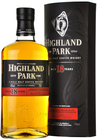 highland park 18 year old, single island malt scotch whisky, whiskey