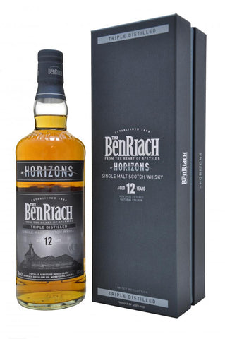 horizons benriach 12 year old triple distilled, speyside single malt scotch whisky, whiskey