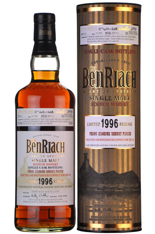 benriach distilled 1996, 18 year old uk exclusive, speyside single malt scotch whisky whiskey