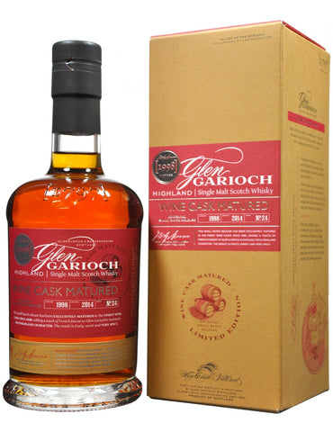 glen garioch 1998, wine cask matured, highland single malt scotch whisky