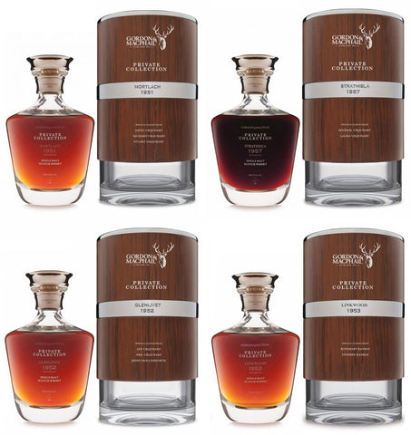 full set of 4 gordon & macphail private collection ultra, speyside single malt scotch whisky