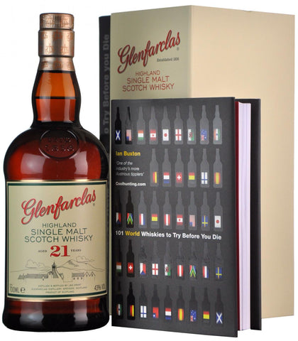 glenfarclas 21 year old + 101 world whiskies to try before you die, gift pack speyside single malt scotch whisky