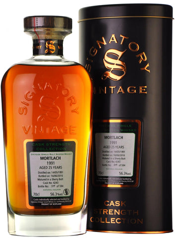 mortlach 1991, 25 year old, signatory vintage cask 4243,