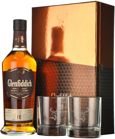 glenfiddich 18 year old, presentation glass set,