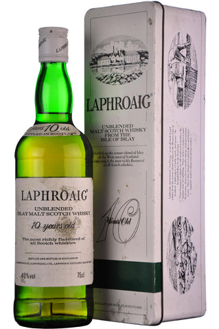 laphroaig 10 year old unblended, islay single malt scotch whisky, bottled in the 1980s,