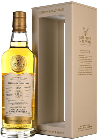 glen spey 1995, 22 year old, connoisseurs choice, gordon and macphail whisky,